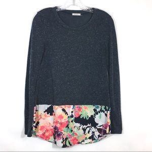 12 PM by Mon Ami Blue Heathered Floral Tunic Top S